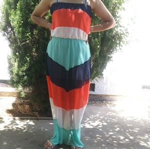 A'gaci Strapless Summer Dress Multi Color Med